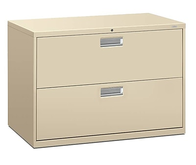 "HON Brigade 600 Series Lateral File, 2 Drawers, Aluminum Pull, 42""W, Putty Finish,"