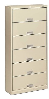 HON Brigade 600 Series 6 Drawer Lateral File Cabinet with Shelves, Letter, Putty, 36
