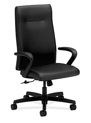 HON Ignition Executive High-Back Chair, Center-Tilt, Fixed Arms, Black Leather NEXTExpress NEXT2019