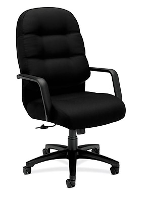 HON Pillow-Soft Executive High-Back Chair, Center-Tilt, Fixed Arms, Black Fabric