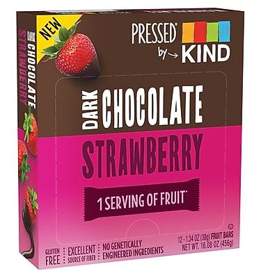 KIND PRESSED Bar, Dark Chocolate Strawberry,  1.34 oz, Pack of 12 (PHW25968)