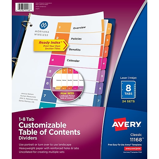 avery 8 tab ready index multicolor table of contents dividers 24