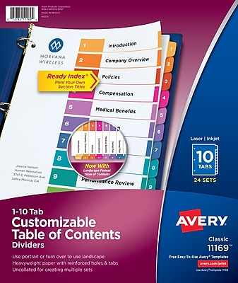 Avery® Ready Index® Paper/Plastic Table of Contents Dividers for Laser/Inkjet, Numbered 1-10, Multicolor, 24 Sets/Pack (11169)