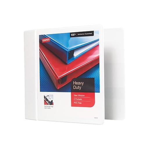 staples heavy duty 5 inch d 3 ring view binder white 24700 us