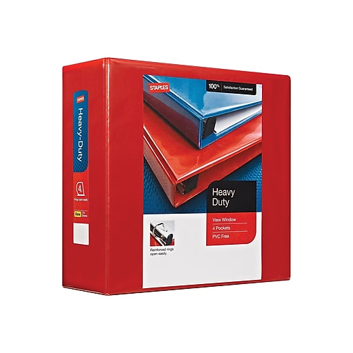 staples heavy duty 4 inch d 3 ring view binder red 24698 us staples