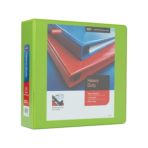 """3"""" Staples® Heavy-Duty View Binder With D-Rings"""