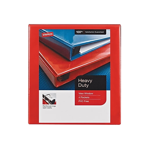 Staples Heavy-Duty 1-Inch D 3-Ring View Binder, Red (24669