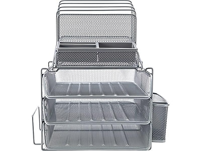 staples all in one silver wire mesh desk organizer 27642 staples rh staples com staples white desk organizer staples desk organizer plastic