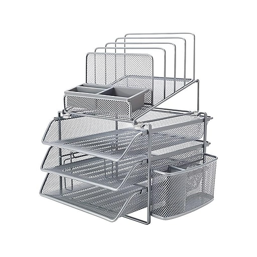 Astonishing Staples All In One Silver Wire Mesh Desk Organizer 27642 Home Remodeling Inspirations Cosmcuboardxyz