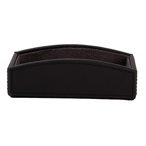 Staples Black Faux Leather Business Card Holder, 50 Card Capacity (45052-CC)