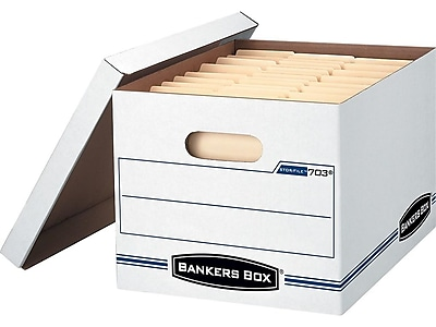 Bankers Box Stor/File Corrugated Boxes, Letter/Legal Size, White/Blue, 20/Pack (FEL-0070333)
