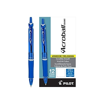 Pilot Acroball Colors Advanced Ink Retractable Ballpoint Pens, Medium Point, Blue Ink, Dozen (31811)