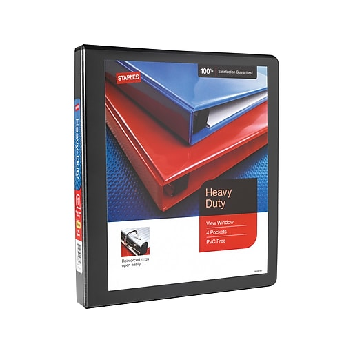 """1"""" Staples® Heavy-Duty View Binder With D-Rings, Black"""