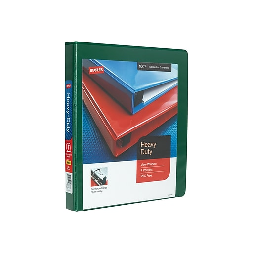 """1"""" Staples® Heavy-Duty View Binder With D-Rings, Green"""