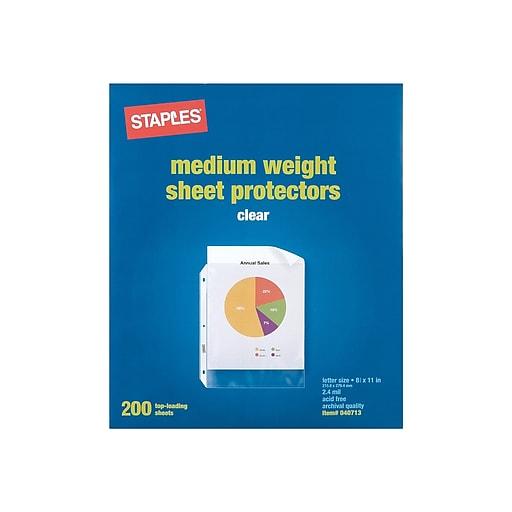Staples Medium Weight Sheet Protectors, Clear, 200/Box (10525)