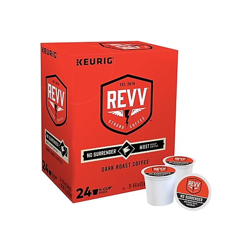 Revv No Surrender Coffee, Keurig® K-Cup® Pods, Dark Roast, 24/Box (6873)