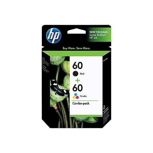 HP 60 Black/Color Ink Cartridges, Standard, 2/Pack (N9H63FN#140)