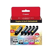 Canon PGI 270 XL/CLI 271 Black High Yield/Color Standard Ink Cartridges, 5/Pack (0319C006)
