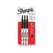 Sharpie Retractable Permanent Markers, Ultra Fine Point, Black, 3/Pack (1735793)
