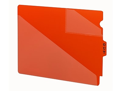 Smead End Tab Poly Outguides, Two Pocket, Center Position Tab, Extra Wide Letter Size, Red, 50/Box (61960)
