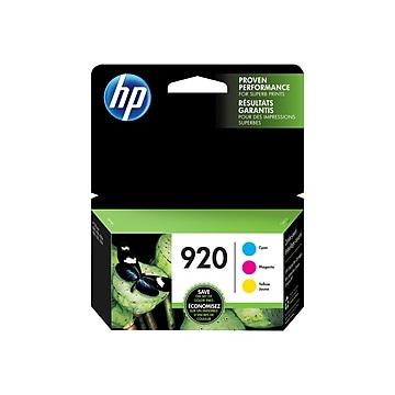 HP 920 Cyan/Magenta/Yellow Standard Yield Ink Cartridge, 3/Pack (N9H55FN)