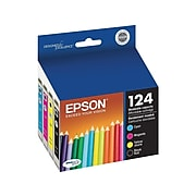 Epson T124 Black/Cyan/Magenta/Yellow Standard Yield Ink Cartridge, 4/Pack