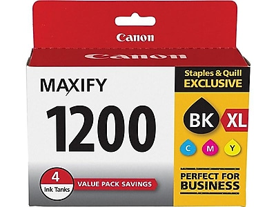 Canon PGI 1200XL Black/Color Ink Cartridges, High Yield, 4/Pack (9183B005)