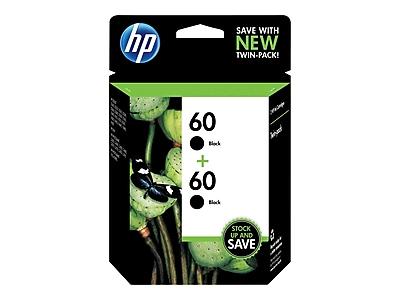 HP 60 Black Ink Cartridges, Standard, 2/Pack (CZ071FN#140)