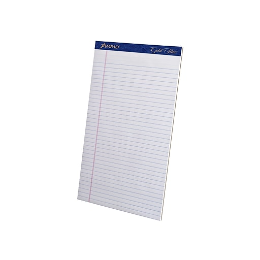 """Ampad Gold Fibre Notepads, 8.5"""" x 14"""", Wide Ruled, Ivory, 50 Sheets/Pad, 12 Pads/Pack (TOP 20-080R)"""