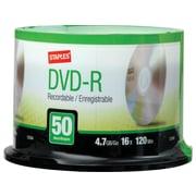Staples 13164 16x DVD-R, Silver, 50/Pack