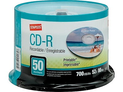 image about Inkjet Printable Cd referred to as Staples 13172 52x CD-R, White Inkjet Printable, 50/Pack