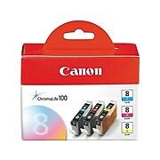 Canon CLI-8 Cyan/Magenta/Yellow Standard Yield Ink Cartridge, 3/Pack (0621B016)