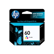 HP 60 Color Ink Cartridge, Standard (CC643WN#140)