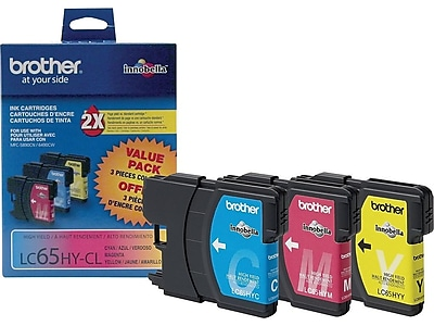 Brother LC 65HY-CL Color Combination Ink Cartridges, High Yield, 3/Pack (LC653PKS)
