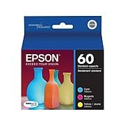 Epson 60 Cyan/Magenta/Yellow Standard Yield Ink Cartridge, 3/Pack