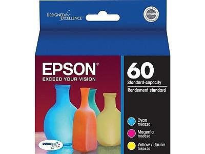 Epson 60 Color Combination Ink Cartridges, Standard, 3/Pack (T060520-S)