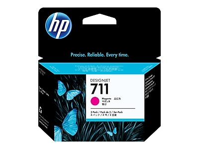 HP 711 Magenta Ink Cartridges, 3/Pack (CZ135A)