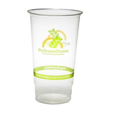 BioGreenChoice 32 oz. Clear Design Compostable PLA Cold Cup, 600/Case