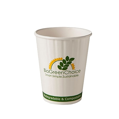 BioGreenChoice 12 oz. Design Compostable Double Wall Hot Paper Cup W/Bio Lining, 1000/Case