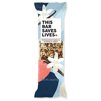 This Bar Saves Lives, Madagascar Vanilla Almond Honey Bar, 1.4 oz, 12/Box (BSL00444)