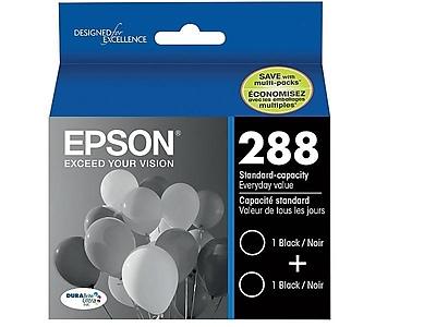 Epson 288 Black Ink Cartridges, Standard, 2/Pack (T288120-D2)