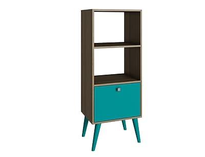 Accentuations by Manhattan Comfort Sami Double Bookcase in Oak/ Aqua (2AMC126) 2436445