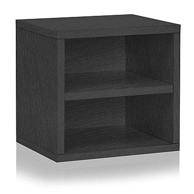 Way Basics Eco Stackable Connect Storage Cube with Shelf Black (C-SCUBE-BK)