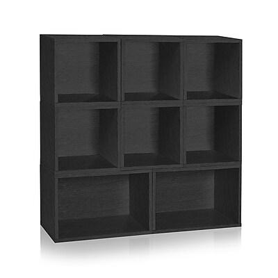 Way Basics Milan Storage Blox 8-Shelf 44.9 inch Eco Friendly Modular Shelving Black (WB-BLOX-2-BK)