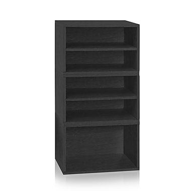 Way Basics Pisa Storage Blox 3-Shelf 44.9 inch Eco Friendly Modular Shelving Black (WB-BLOX-5-BK)