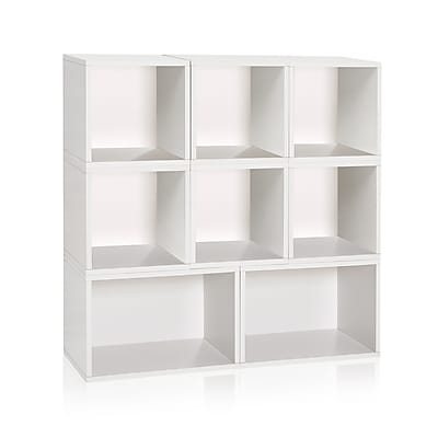 Way Basics Milan Storage Blox 8-Shelf 44.9 inch Eco Friendly Modular Shelving White (WB-BLOX-2-WE)