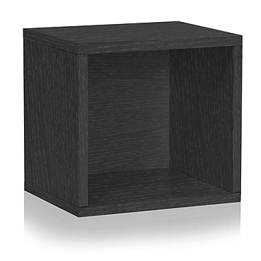 Way Basics Eco Stackable Connect Open Storage Cube and Cubby Organizer Black (C-OCUBE-BK)