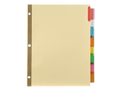 Staples Big Tab Insertable Paper Dividers, 8-Tab, Buff with Assorted-Color Tabs (13487/11111)