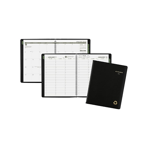 "2019 AT-A-GLANCE 10.88""H x 8.25""W Appointment Book, Recycled, Black (70950G0519)"