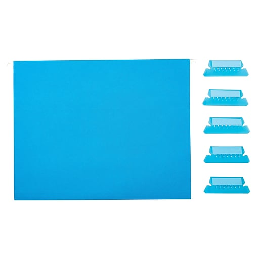Staples Hanging File Folders, 5-Tab, Letter Size, Blue, 25/Box (163501)